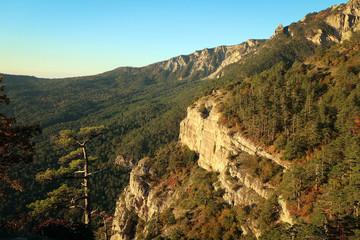 Sharp cliffs of mountains of South Coast of Crimea near Yalta, Russia