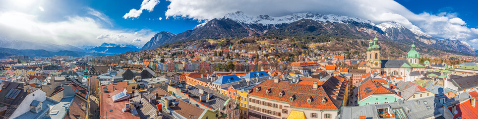 Innsbruck city center under Stadtturm tower. It is capital city of Tyrol in western Austria, Europe Wall mural