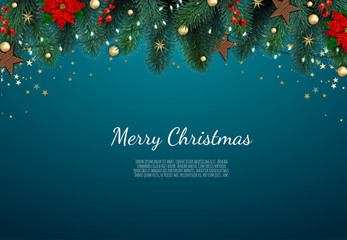 Merry Christmas and Happy New Year. Xmas background with gift box, Snowflakes and balls design.