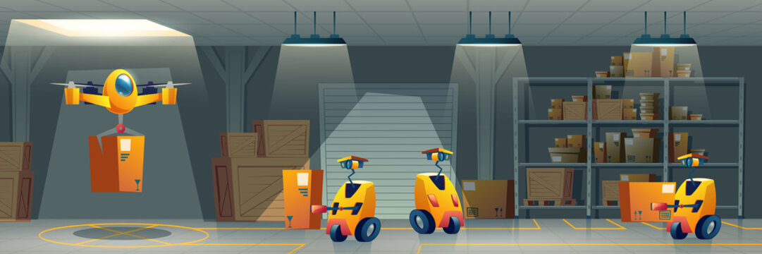 Future delivery service automated warehouse cartoon vector concept Robots controlled by artificial intelligence sorting, carrying cargo in depot and delivering parcels to customers by air illustration