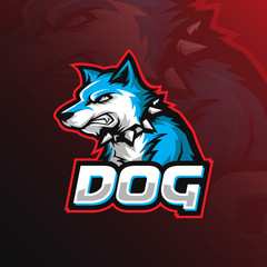 dog vector mascot logo design with modern illustration concept style for badge, emblem and tshirt printing. angry dog illustration with a necklace around the neck.