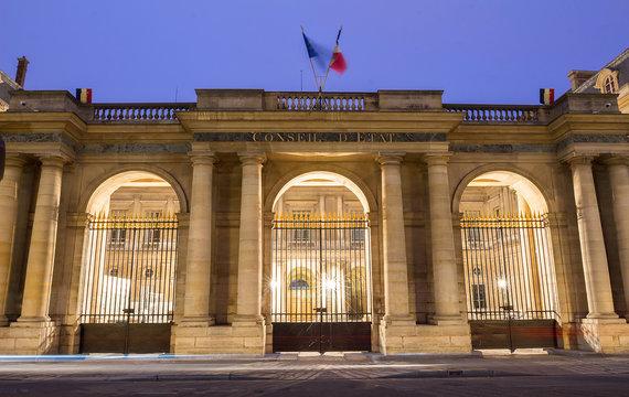 The Conseil d Etat Council of State at night , Paris, France.