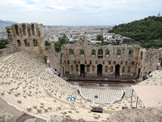 Europe, Greece,Athens,ancient amphitheatre and  panorama of the city in fine weather