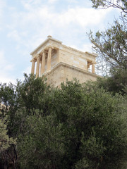 Europe, Greece,Athens,bottom view of one of  the temples of the Acropolis