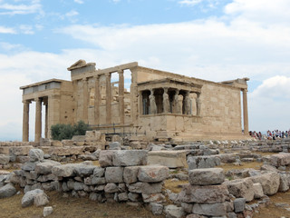 Europe, Greece,Athens,the ruins of the ancient temple is visited by  tourists, the Acropolis
