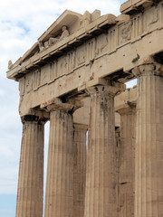 Europe, Greece,Athens,part of the columns and the entablature of the Parthenon, Acropolis