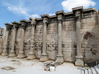 Europe, Greece, Athens,remains of ancient structure  with Corinthian columns