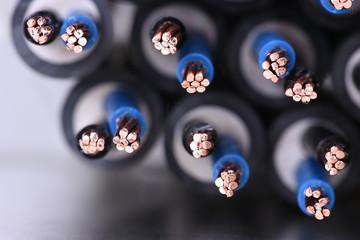 Copper electrical cables closeup
