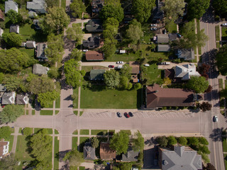 an aerial of a small town neighborhood