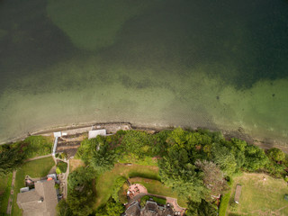 an aerial of a beach front homes