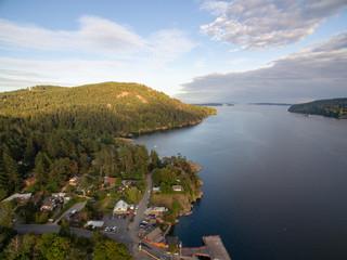 an aerial photo of a bay
