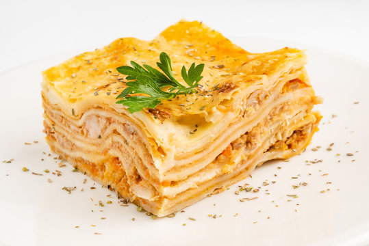 meat lasagna on the white background