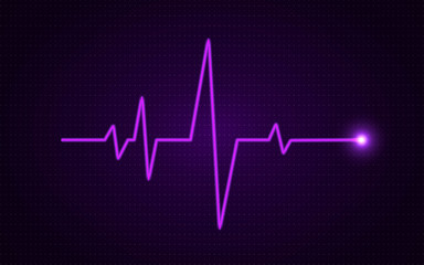 Heart pulse concept. Glowing medical line. Healthcare background. Pulse diagram with bright gradient. Heartbeat art template. Health visualization on dark backdrop. Trendy vector illustration