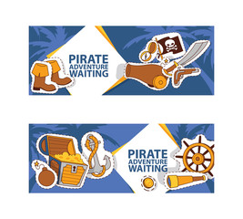 Pirate adventure waiting banner. Corsairs vector illustration with stickers and patches such as anchor, treasure, black hat, spyglass, flag, sword, compass, boots, bomb.