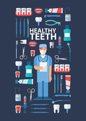 Dental, stomatological equipment banner, poster vector illustration. Dentist in uniform. Dentistry technology products, professional tools, medical supplies. Healthy teeth.