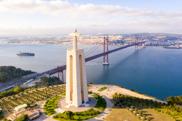 Beuatiful Lisbon view from above. Aerial view of Portugal.