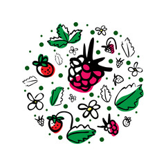 Vector round illustration with berries, flowers and leaves on a white background. Great for product design for kids. Hand drawn