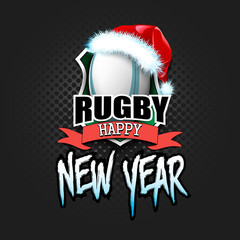Rugby ball with santa hat and happy new year