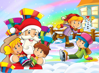 cartoon snow scene with santa claus and kids - illustration for children
