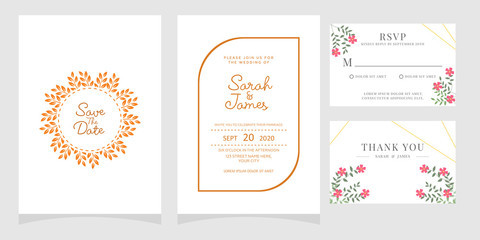 Wedding invitation, thank you card, save the date card.
