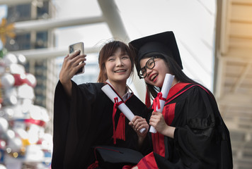 Two female Selfie Glad to graduate On the BTS station