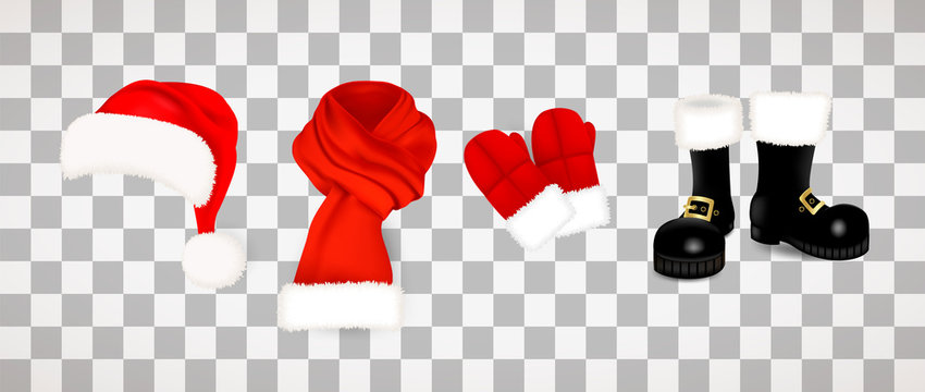 Collection of traditional red Santa Claus clothes, hat with fluffy fur pompon, scarf with snow, mittens and black boots isolated on transparent background. Vector illustration