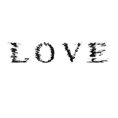 3d text illustration depth effect love
