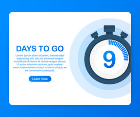 Nine days to go. Banner for business, marketing and advertising, Vector illustration on white background.