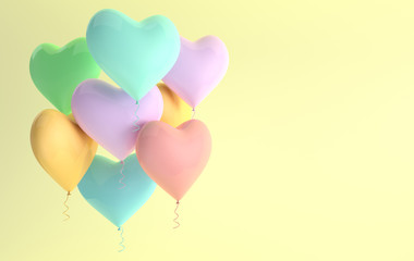 3d render illustration of realistic pastel colored glossy heart balloons. Valentine's Day romantic elegant 14 february greeting card. Empty space for party, promotion social media banners, posters.