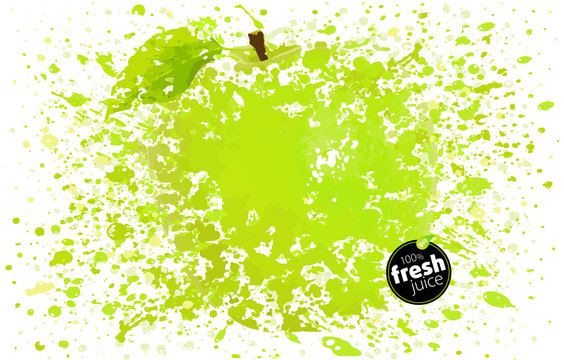 Green apple with splashes. Background with juice spots and sprays. White background vector Illustration