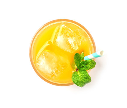 Fresh mango drink with straw and ice cubes isolated on white, top view