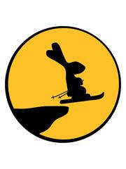 mond nacht kreis rund klippe winter schifahren ski berge silhouette umriss schatten schihase schnee fahren schnell spaß hase kaninchen süß niedlich klein comic cartoon häschen clipart haustier
