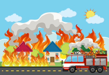 Emergency house fire background
