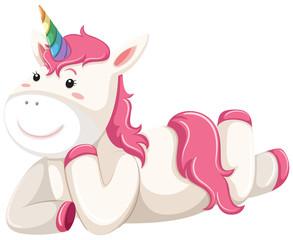 Happy pink unicorn laying