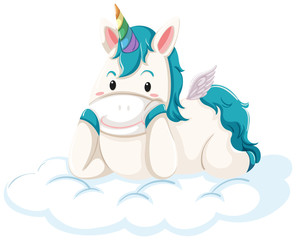 A unicorn lying down on the cloud