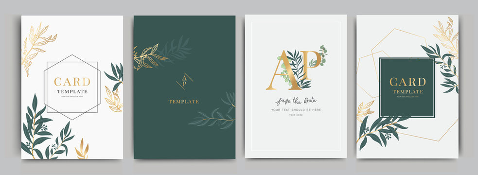 Wedding Invitation, floral invite thank you, rsvp modern card Design in Flower with leaf greenery  branches decorative Vector elegant rustic template