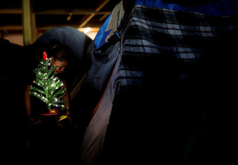 A woman, part of a caravan of thousands from Central America trying to reach the United States, puts a Christmas tree by her tent at the temporary shelter in Tijuana