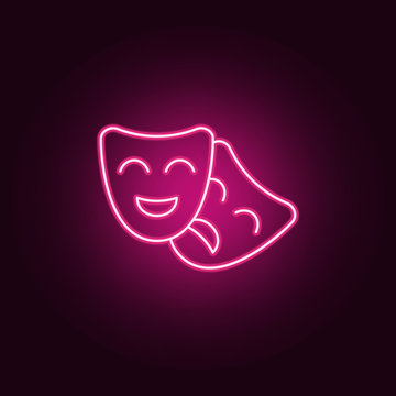 drama masks icon. Elements of Cinema in neon style icons. Simple icon for websites, web design, mobile app, info graphics