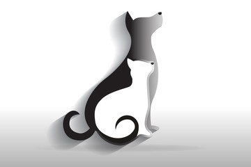Dog and cat logo icon vector