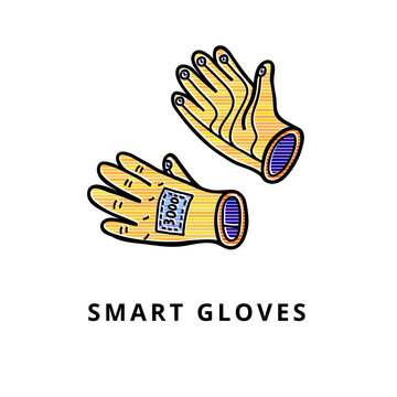 Smart gloves isolated
