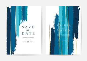 Wedding invitations and Card Template Design with Painted canvas White Marble and gold foil in luxurious style  Vector Illustration.