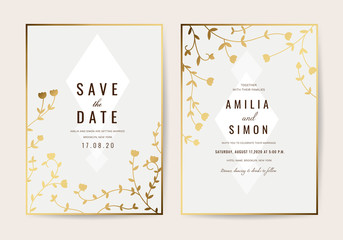 Wedding invitation cards with Gold floral and Luxurious  background texture vector design template