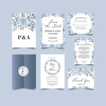 winter theme wedding invitation