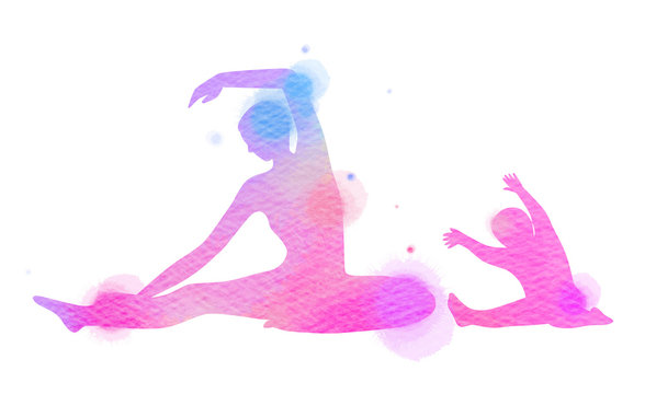 Happy mom and child exercise silhouette on watercolor background. Mother and kid doing yoga. Mother's day. Health care concept. Digital art painting