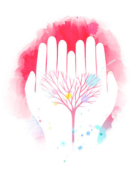 Double exposure illustration. Human hands holding tree symbol with watercolor. Concept illustration for environment care or help project. Digital art painting