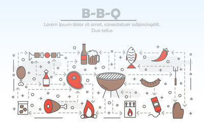 Vector thin line art barbeque poster banner template