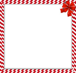 Christmas, new year double candy cane border with striped pattern and ribbon