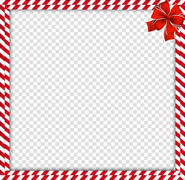 Christmas, new year double candy cane border with striped pattern and bow