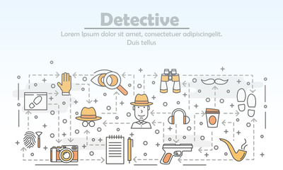 Vector thin line art detective poster banner template