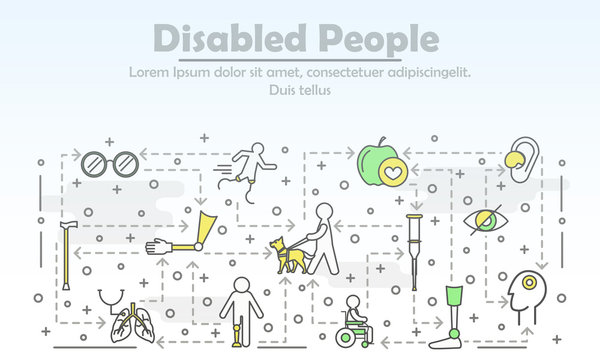 Vector thin line art disabled people poster banner template